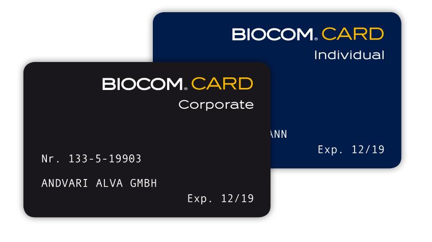 Zwei BIOCOM CARDs
